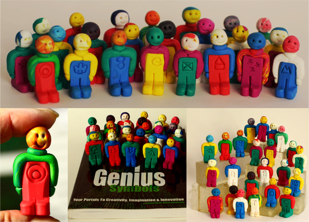 Tiny men standing on a book - the energists genius symbol set by silvia hartmann