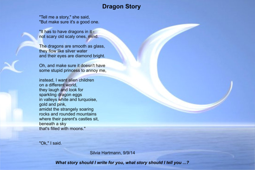Picture of a dragon and the words to the dragon story poem.