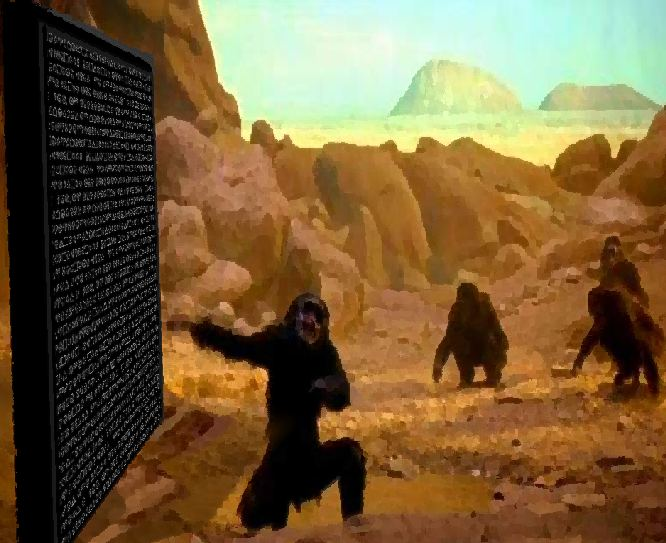 BLACK STONE MONKEY SYMBOLS SPACE ODYSSEY