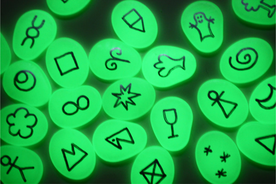 Glow in the dark symbols glowing in the dark!